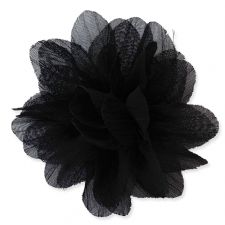 7cm Lily BLACK Fabric Flower Applique